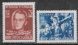 Yugoslavia 1951 Serbian Uprising Mi N.658-659 Complete Set MH * - Neufs
