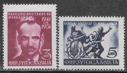 Yugoslavia 1951 Macedonia Uprising Mi N.672-673 Complete Set MH * - Neufs