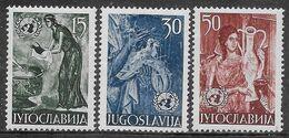 Yugoslavia 1953 United Nations, Frescoes Mi N.714-716 Complete Set MH * - Neufs