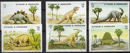St.Tome Et Principe Dinos, 1982, 6 Stamps Prehistoric Animals - Prehistorics