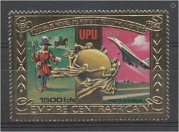 Centrafrica 1978, 100th UPU, Concorde, Gold, 1val - Concorde
