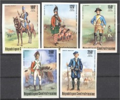 Centrafrica 1976, 200th USA, Old Uniforms, 5val IMPERFORATED - Us Independence