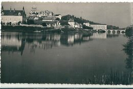 CPsm,dentelée N Et B  De  SAINT - AIGNAN   ( 41 )   L' Eglise, Le Chateau, Et Le Pont Sur Le Cher . - Saint Aignan