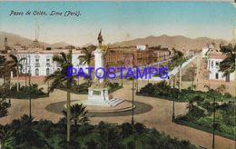 139545 PERU LIMA PASEO DE COLON CANCEL BUZONES CIRCULATED TO HOLLAND POSTAL POSTCARD - Peru