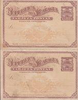 Nicaragua UPU Postal Stationery Ganzsache Entier M. Reply Antwort Response 1890, 2c. + 2c. Train Zug Locomotive - Nicaragua