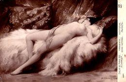 ÉROTISME / SEXY / FEMME NUE / NAKED WOMAN : FARNIENTE Par A. CHARLET - SALON De PARIS - 1913 (af319) - Paintings