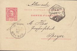 Portugal UPU Postal Stationery Ganzsache Entier 25 R. Carlos I.  LISBOA CENTRAL 1904 SPEYER (Arr.) Germany (2 Scans) - Postal Stationery