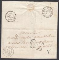 """France 1856 - Précurseur De Bourmont à Destination Paris. Non Affranchie.  La Poste à Paris"""".   (VG) DC-7844 - France"""