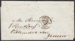 """France 1860 - Précurseur De Paris à Destination Villeneuve Sur Yonne. Non Affranchie.  La Poste à Paris"""".   (VG) DC-7843 - France"""