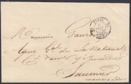 """France 1854 - Précurseur De Paris à Destination Saumur.   La Poste à Paris"""".   (VG) DC-7845 - France"""