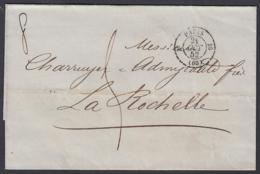 """France 1852 - Précurseur De Paris à Destination La Rochelle.  La Poste à Paris""""   (VG) DC-7850 - France"""