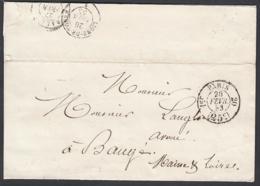 """France 1853 - Précurseur De Paris à Destination Baugé.  La Poste à Paris""""   (VG) DC-7849 - France"""