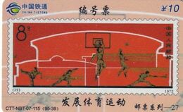 CHINA - Stamp, Sports, China Tietong Prepaid Card Y10, Exp.date 30/06/07, Used - Timbres & Monnaies