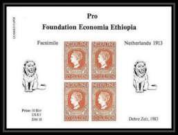 338 - Ethiopie MNH ** Bloc Pro Foundation Economia Ethiopia Bloc Netherland / Lion 1913 / 1983 - Raubkatzen