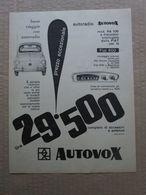 - ADVERTISING PUBBLICITA'  AUTORADIO AUTOVOX MOD. RA 106 PER FIAT 600  - 1961 - Reclame
