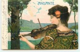 N°15764 - Andante - Jeune Femme Jouant Du Violon Devant Un Lac - Women