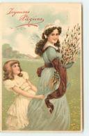 N°15788 - Joyeuses Pâques - Jeune Femme Et Fillette Se Promenant - Pasqua