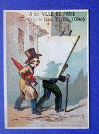 CHROMO ...A LA VILLE DE PARIS / CREIL...LITH .ROMANET......LE VITRIER...PARAPLUIE - Trade Cards