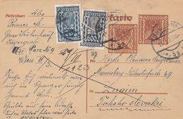 Österreich 1923,  2 X 50 Kronen Ganzsache Mit 600 + 20 Kronen Zusatzfrankierung Auf Pk - Cartas