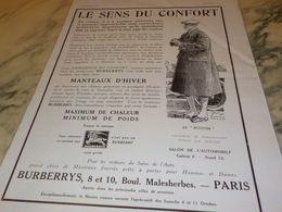 ANCIENNE PUBLICITE VETEMENT LE SENS DU CONFORT BURBERRYS 1930 - Reclame