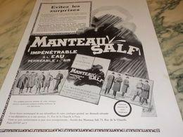 ANCIENNE PUBLICITE MANTEAU SALF 1930 - Reclame
