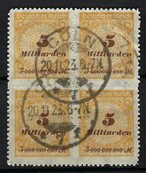 ALLEMAGNE 1923:  Bloc De 4 Du Y&T 328, Superbe  Obl. CAD CÖLN (avec ''C'') Du 20.11.23 - Gebruikt