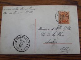 N° 135 Sur Carte Fantaisie Oblitérée De Viesville Pour L' AGENCE DE FORTUNE De CHARLEROI 11 En 1918. - Postmark Collection