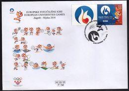 Croatia Zagreb 2016 / European Universities Games / Waterpolo Basketball Football Rowing Tennis Judo Chess Swimming Golf - Stamps