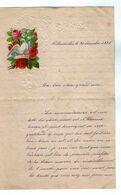 VP17.249 - 1891 - Lettre Illustrée Papier Gaufé Double Page Découpi Fleurs & Oiseau - Melle Marie HODEE à PELLOUAILLES - Fiori