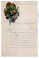 VP17.251 - 1889 - Lettre Illustrée Double Page & Découpi Fleurs  - Melle Marie HODEE à PELLOUAILLES - Fiori