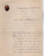 VP17.254 - 1886 - Lettre Illustrée Papier Gaufré Double Page & Découpi Fleurs - Melle Marie HODEE à PELLOUAILLES - Fiori