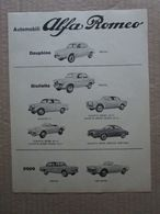 - ADVERTISING PUBBLICITA' AUTOMOBILI ALFA ROMEO DAUPHINE / GIULIETTA / 2000  - 1961 - Reclame