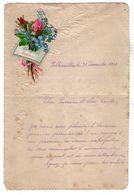 VP17.255 - 1882 - Lettre Illustrée Papier Gaufré Double Page & Découpi Fleurs - Melle Marie HODEE à PELLOUAILLES - Fiori