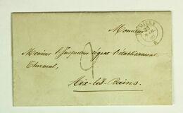 SAVOIE, LAC Mars 1860 Rumilly Pour Aix Les Bains, Taxe 2 Soldi - Timbre Citta Di Rumilly Au Dos - 1849-1876: Periodo Classico