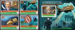 Niger 2020, J. Verne, Submarine, Diving, Baloons, 4val+BF - Diving