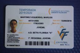 Sporting Club De Valencia 2019-2020 - Carte Membre Club Football ID Card BETIS - Other