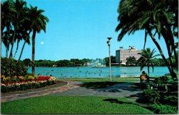 Florida Orlando Lake Eola Flowers And Palms Along The Shore Showing Park Plaza Hotel & Centennial Fountain - Orlando