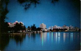 Florida Miami Beach Skyline At Night - Miami Beach