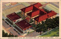Florida Orlando Aerial View Jefferson Court Hotel And Apartments 1949 Curteich - Orlando