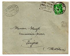 1939--Lettre De VITRE-35 Pour Fougères-35--type Paix --cachet Daguin ---Quentin (notaire) - 1921-1960: Modern Period