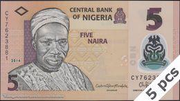 TWN - NIGERIA 38g - 5 Naira 2016 DEALERS LOT X 5 - Polymer - Prefix CY UNC - Nigeria
