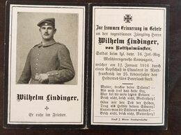 Sterbebild Wk1 Ww1 Bidprentje Avis Décès Deathcard IR16 VERMANDOVILLERS Block 4 Grab 1001 Aus Rotthalmünster - 1914-18