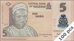 TWN - NIGERIA 38i - 5 Naira 2018 DEALERS LOT X 100 - Polymer - Prefix DQ UNC - Nigeria
