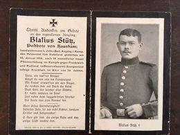Sterbebild Wk1 Ww1 Bidprentje Avis Décès Deathcard Inf. Batl. Augsburg MORHANGE Block 5 Grab 78 SAARGEMÜND Aus Hausham - 1914-18