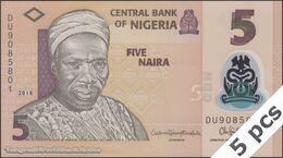 TWN - NIGERIA 38i - 5 Naira 2018 DEALERS LOT X 5 - Polymer - Prefix DU UNC - Nigeria