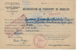 Autorisation Transport 1942 De Paris à Echallons Par Messei (Orne) Délivré Par Secrétariat D'Etat Aux Communications - 1939-45