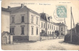 CHATILLON-S/ CHALARONNE   ECOLE SUPERIEURE   CARTE ANIMEE  1905 - Châtillon-sur-Chalaronne