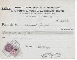 Reçu Bureau Départemental  Répartition De La Pomme De Terre Et Des Produits Dérivés Juin 1941 Avec Fiscal 60c DA - 1939-45