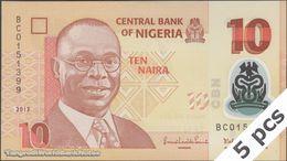 TWN - NIGERIA 39d - 10 Naira 2013 DEALERS LOT X 5 - Polymer - Prefix BC UNC - Nigeria