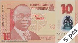 TWN - NIGERIA 39j - 10 Naira 2019 DEALERS LOT X 5 - Polymer - Prefix FA UNC - Nigeria